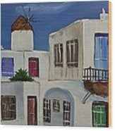 Greek Village Wood Print