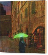 Green Umbrella Wood Print by Patrick J Osborne