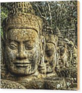 Guardians Of Angkor Thom Wood Print
