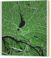 Hamburg Street Map - Hamburg Germany Road Map Art On Colored Bac Wood Print