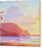 Hanalei Sunset Wood Print