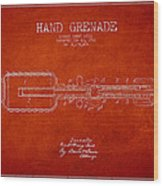 Hand Grenade Patent Drawing From 1916 Wood Print