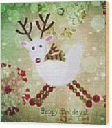 Happy Holidays Wood Print by Rebecca Cozart