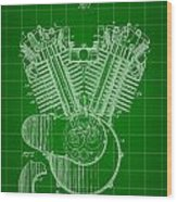 Harley Davidson Engine Patent 1919 - Green Wood Print