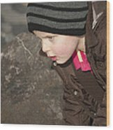 Harvey On The Rocks Wood Print