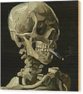 Head Of A Skeleton With A Burning Cigarette Wood Print