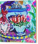 Heart Roses And Tiara Wood Print