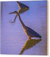 Heron Hues Wood Print