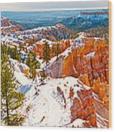 High Angle View Of Rock Formations Wood Print