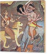 Hindu Goddess Durga Fights Mahishasur Wood Print by Photo Researchers