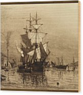 Historic Seaport Schooner Wood Print