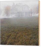 House In Fog Wood Print