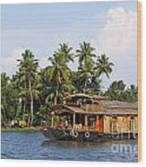 Houseboats On The Kerala Backwaters Wood Print