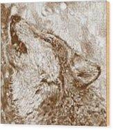 Howling Gray Wolf Wood Print