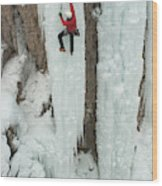 Ice Climber Ascending At Ouray Ice Wood Print