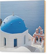 Iconic Blue Domed Churches In Oia Santorini Greece Wood Print