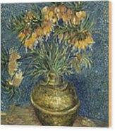 Imperial Fritillaries In A Copper Vase Wood Print