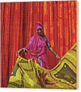 India, Rajasthan, Sari Factory Wood Print