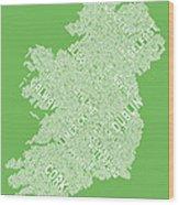 Ireland Eire City Text Map Wood Print