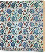 Iznik Ceramics With Floral Design Wood Print