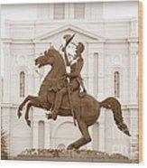 Jackson Square Statue In Sepia Wood Print