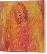 Janis Joplin On Fire Wood Print
