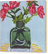 Jeff's Vase And Rodger's Roses Wood Print