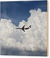 Jetliner And Clouds Wood Print