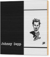 Johnny Depp Sketch Wood Print by Ann Kipp