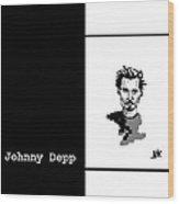 Johnny Depp Sketch Wood Print