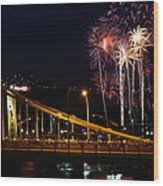 July 4th Fireworks In Pittsburgh Wood Print