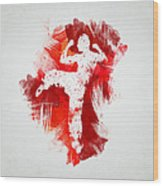 Karate Fighter Wood Print