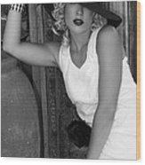 Lady In White Bw Wood Print