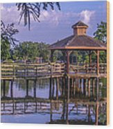 Lafreniere Gazebo Wood Print by Renee Barnes