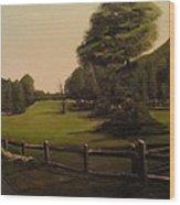 Landscape Of Duxbury Golf Course - Image Of Original Oil Painting Wood Print