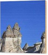 Landscape Of Limestone Fairy Chimneys At Zelve In Cappadocia Turkey Wood Print