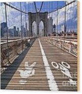 Lanes For Pedestrian And Bicycle Traffic On The Brooklyn Bridge Wood Print