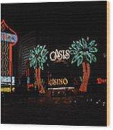 Las Vegas With Watercolor Effect Wood Print