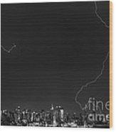 Lightning Strikes The Big Apple Wood Print