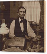 Lincoln At Breakfast Wood Print by Ray Downing
