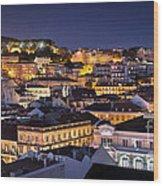Lisbon Downtown Wood Print