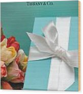 Little Blue Gift Box Wood Print by Amy Cicconi