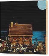 Log Cabin And Out House Scene With Old Vintage Classic 1908 Model T Ford In Color Wood Print