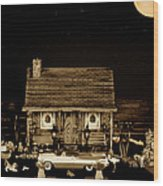 Log Cabin Scene With The Classic Old Vintage 1959  Dodge Royal Convertible At Midnight In Sepia  Wood Print by Leslie Crotty