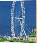 London Eye Westminster Bridge Wood Print