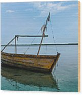 Lonely Boat Wood Print by Jean Noren