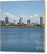 Long Beach Skyline Wood Print