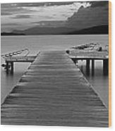 Long Exposure On Wooden Pier At Dawn Wood Print