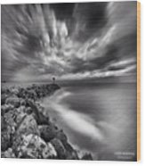 Long Exposure Sunset At The Oceanside Wood Print