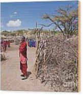 Maasai People And Their Village In Tanzania Wood Print